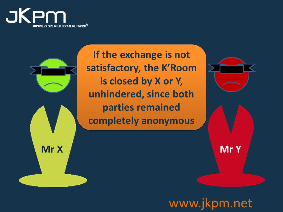 BUSINESS ORIENTED SOCIAL NETWORK ® www.jkpm.net If the exchange is not satisfactory, the K'Room is closed by X or Y, unhindered, since both parties remained completely anonymous Mr Y Mr X