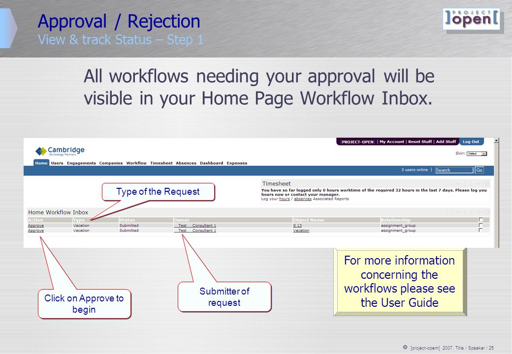  ]project-opem[ 2007, Title / Speaker / 25 Approval / Rejection View & track Status – Step 1 All workflows needing your approval will be visible in y