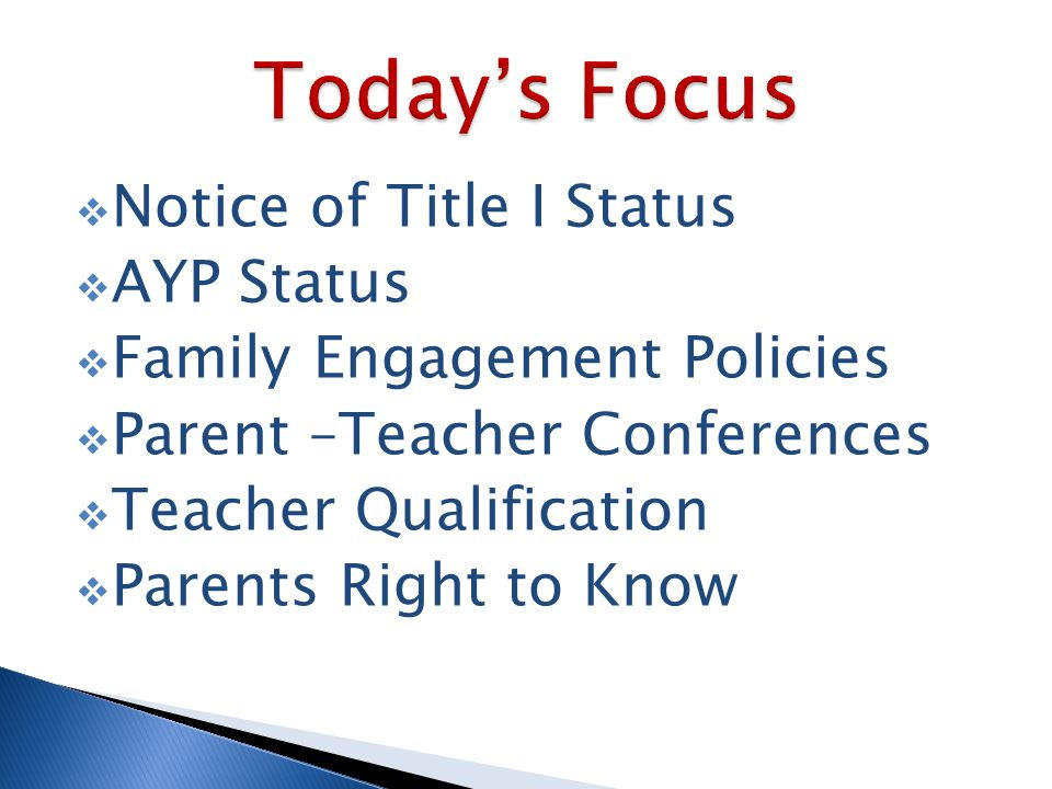  Notice of Title I Status  AYP Status  Family Engagement Policies  Parent –Teacher Conferences  Teacher Qualification  Parents Right to Know