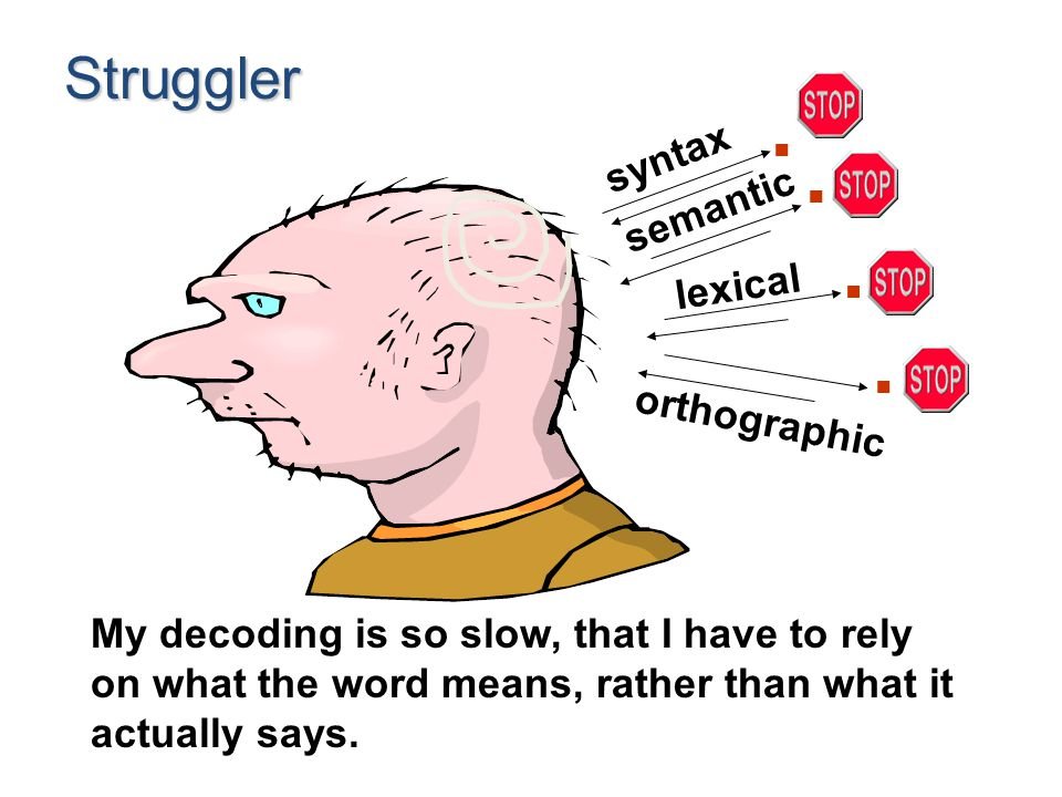 Struggler My decoding is so slow, that I have to rely on what the word means, rather than what it actually says. syntax semantic lexical orthographic.