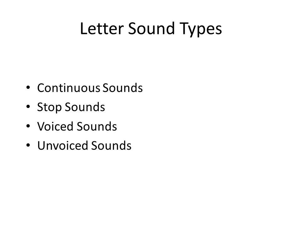 Letter Sound Types Continuous Sounds Stop Sounds Voiced Sounds Unvoiced Sounds