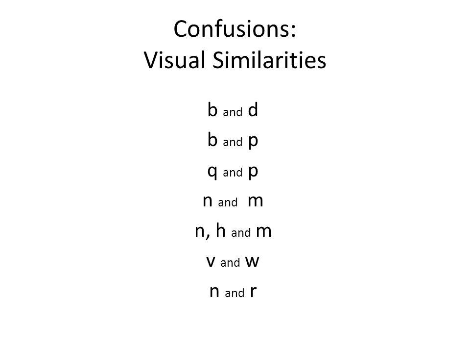 Confusions: Visual Similarities b and d b and p q and p n and m n, h and m v and w n and r