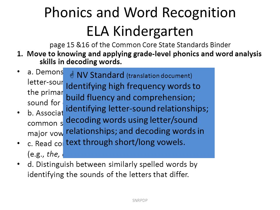 Phonics and Word Recognition ELA Kindergarten page 15 &16 of the Common Core State Standards Binder 1. Move to knowing and applying grade-level phonic