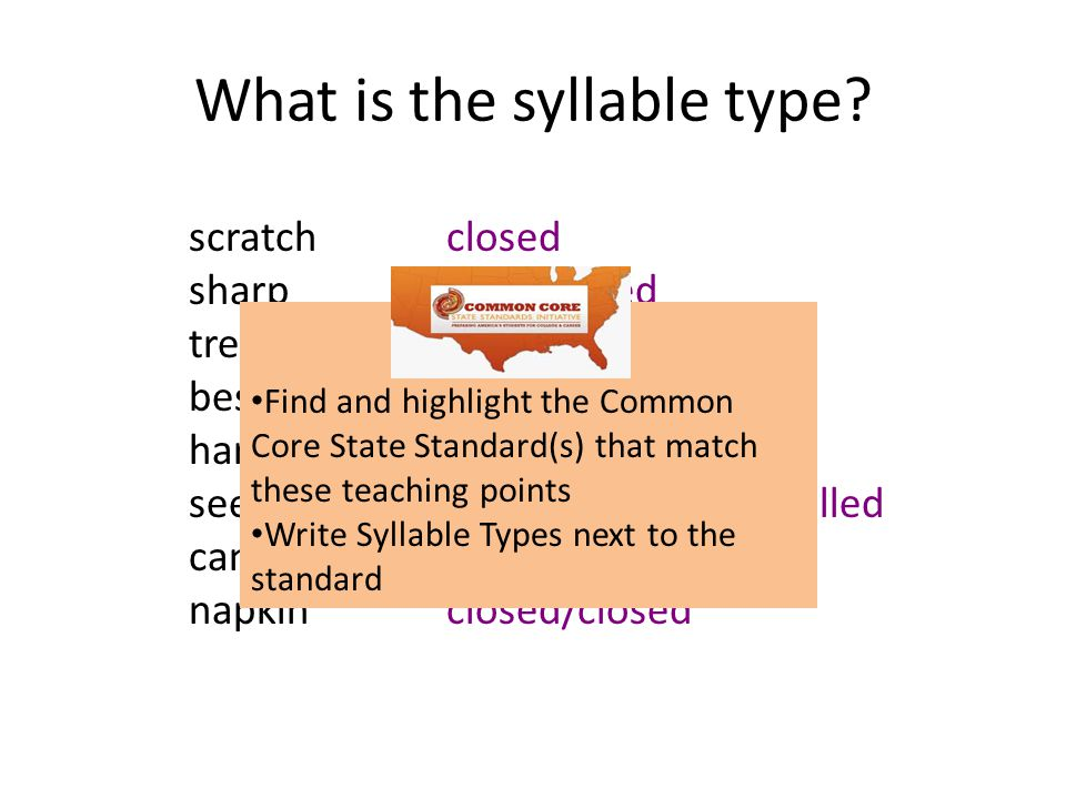 What is the syllable type? scratch sharp tree beside harvest seeker candle napkin closed r-controlled vowel team open/silent e r-controlled/closed vow