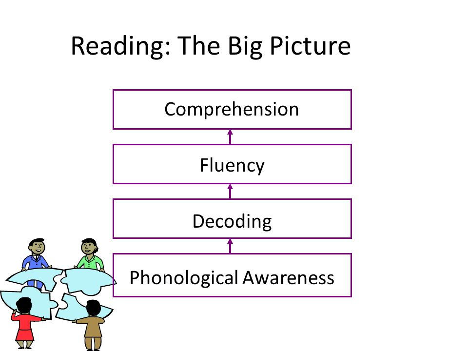 Reading: The Big Picture Comprehension Fluency Decoding Phonological Awareness