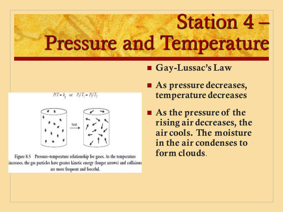 Station 4 – Pressure and Temperature Gay-Lussac's Law As pressure decreases, temperature decreases As the pressure of the rising air decreases, the ai