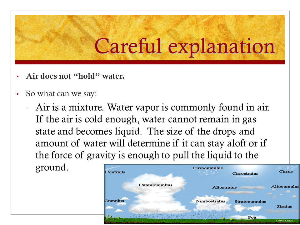 "Careful explanation Air does not ""hold"" water. So what can we say: Air is a mixture. Water vapor is commonly found in air. If the air is cold enough,"
