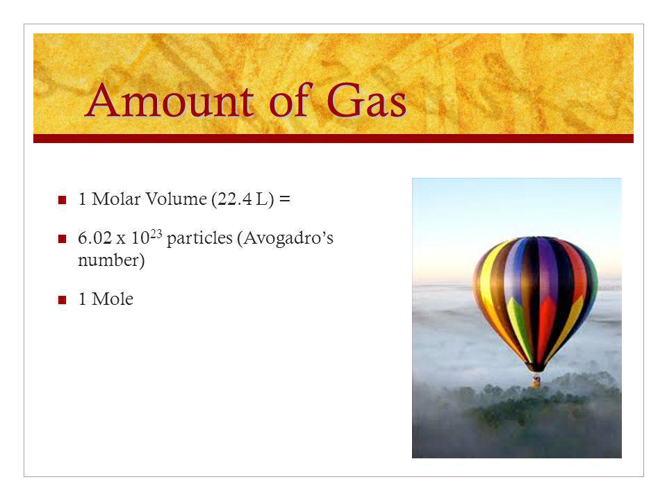 Amount of Gas 1 Molar Volume (22.4 L) = 6.02 x 10 23 particles (Avogadro's number) 1 Mole