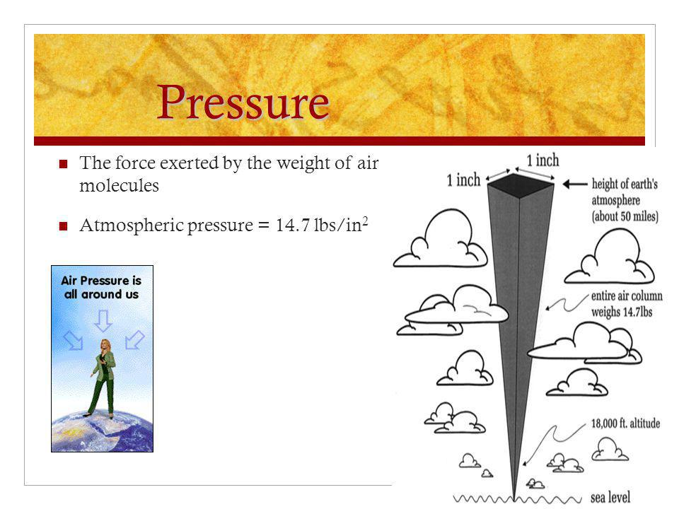 Pressure The force exerted by the weight of air molecules Atmospheric pressure = 14.7 lbs/in 2