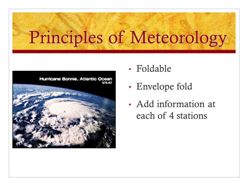 Principles of Meteorology Foldable Envelope fold Add information at each of 4 stations