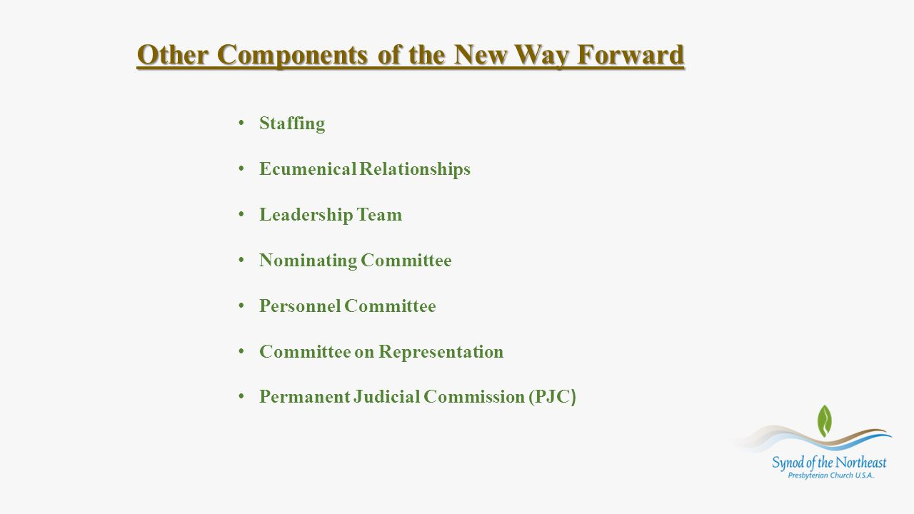 Other Components of the New Way Forward Staffing Ecumenical Relationships Leadership Team Nominating Committee Personnel Committee Committee on Repres