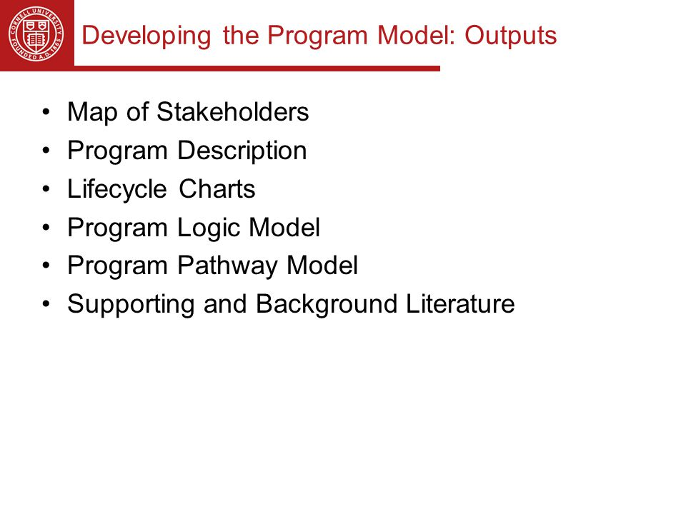 Developing the Program Model: Outputs Map of Stakeholders Program Description Lifecycle Charts Program Logic Model Program Pathway Model Supporting and Background Literature