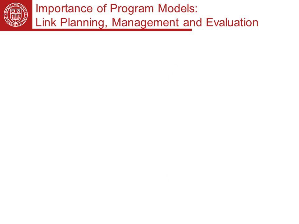 Importance of Program Models: Link Planning, Management and Evaluation