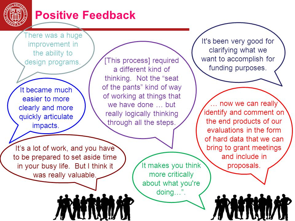 Positive Feedback There was a huge improvement in the ability to design programs.