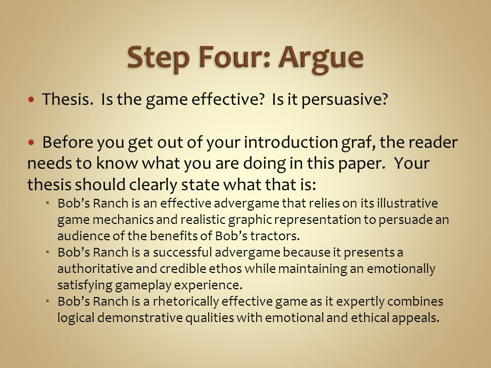 Thesis. Is the game effective. Is it persuasive.