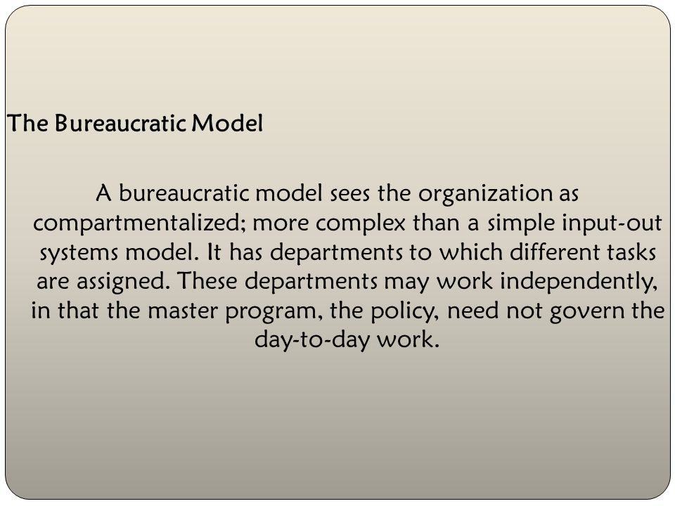 The Implementation Models The systems management model