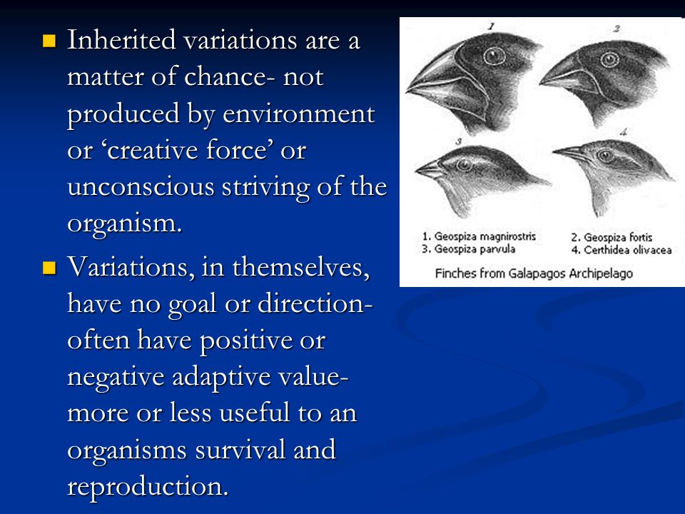 Inherited variations are a matter of chance- not produced by environment or 'creative force' or unconscious striving of the organism. Inherited variat