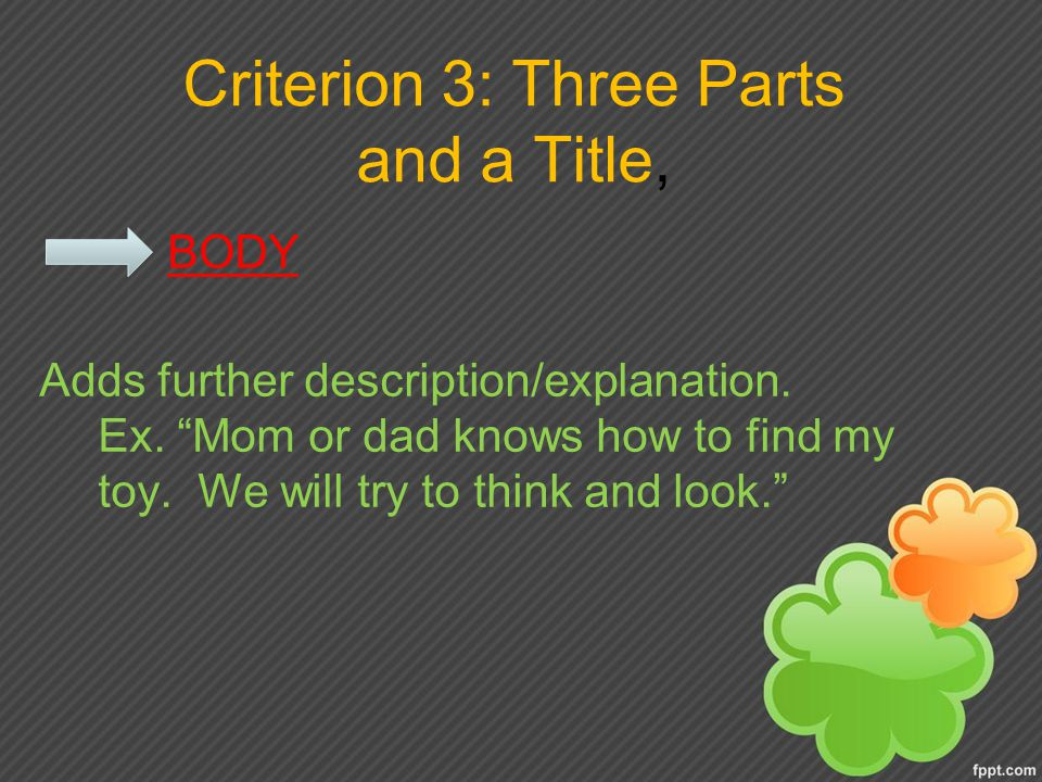 Criterion 3: Three Parts and a Title, BODY Adds further description/explanation.