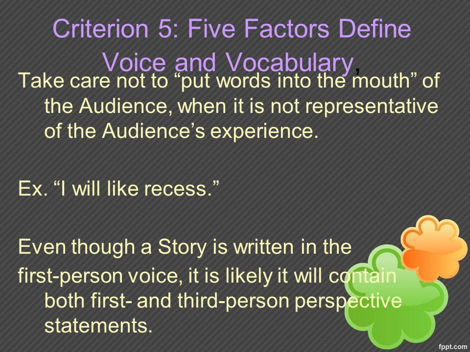 Criterion 5: Five Factors Define Voice and Vocabulary, Take care not to put words into the mouth of the Audience, when it is not representative of the Audience's experience.