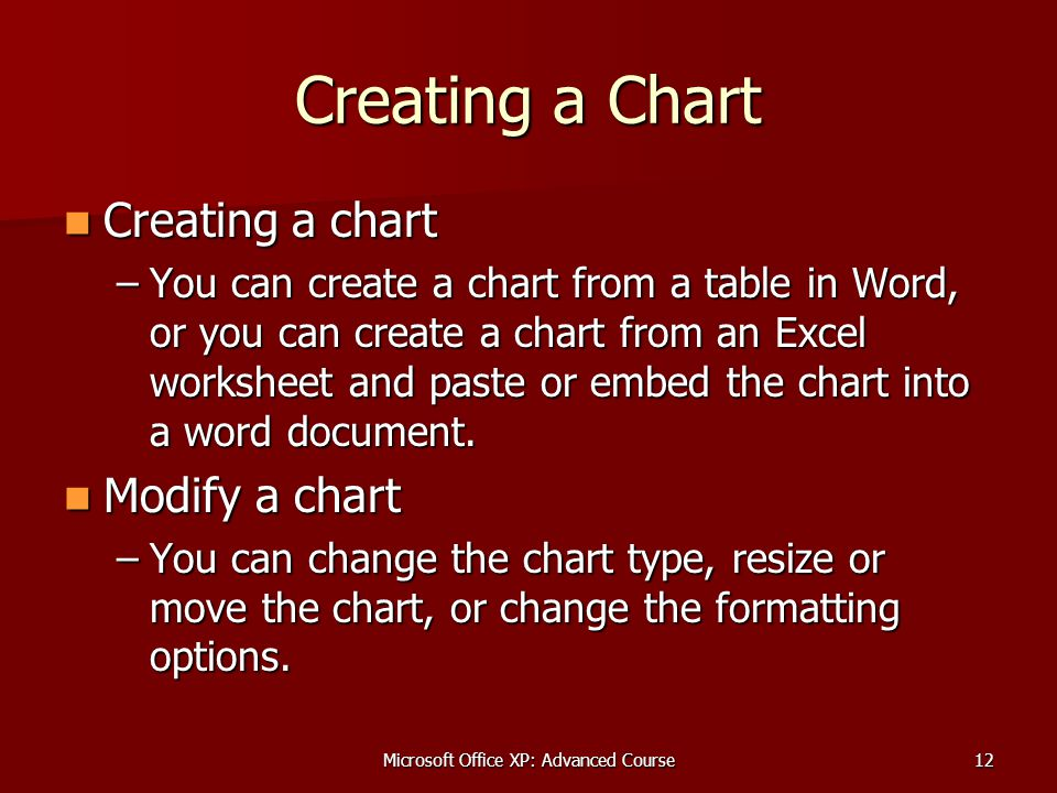 Microsoft Office XP: Advanced Course12 Creating a Chart Creating a chart Creating a chart –You can create a chart from a table in Word, or you can create a chart from an Excel worksheet and paste or embed the chart into a word document.