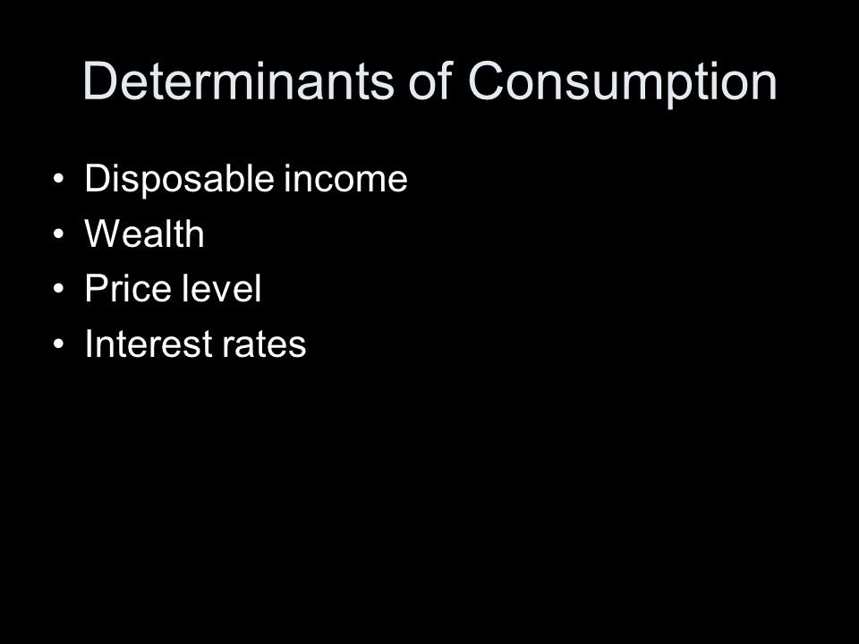 Determinants of Consumption Disposable income Wealth Price level Interest rates