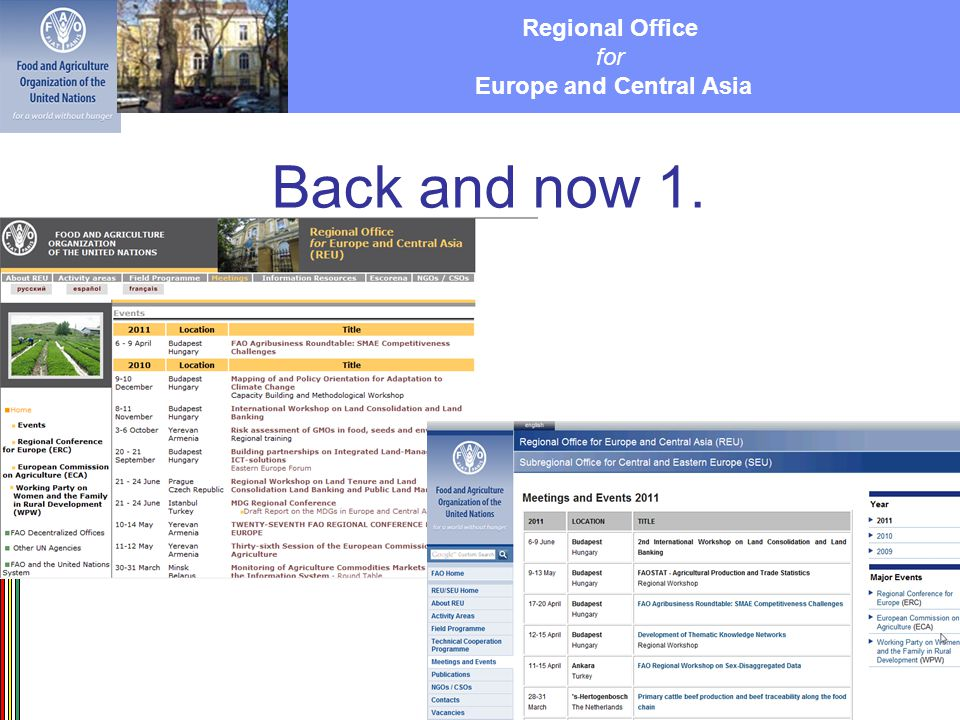 Regional Office for Europe and Central Asia Back and now 1.