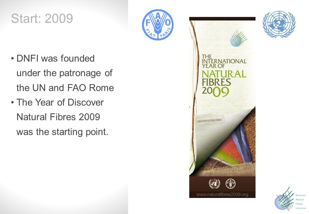 Slide 2 DNFI was founded under the patronage of the UN and FAO Rome The Year of Discover Natural Fibres 2009 was the starting point.