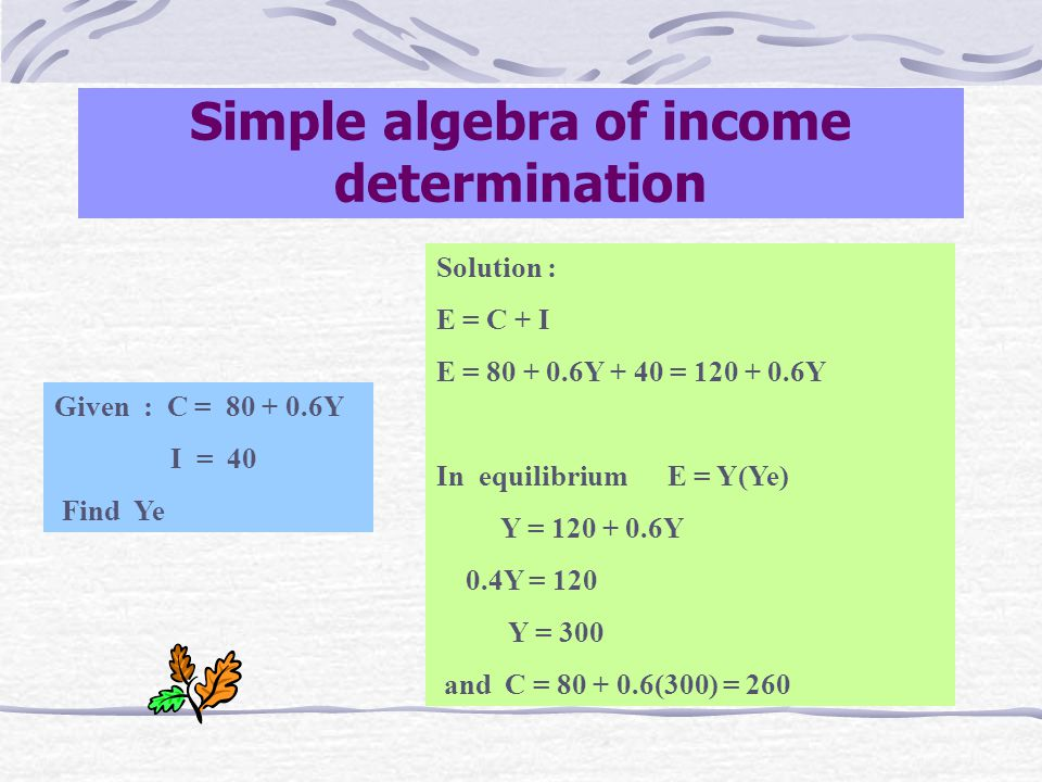 Component of AE Consumption function : Cf Cf = C + cY a function of Yd (in a two-sector model Y = Yd) C : intercept on E-axis (amount consumed when income is zero) c : slope of Cf (c is the marginal propensity to consume) Investment function : I I : an autonomous function (doesn't vary with Y) Aggregate expenditure function (E or AE) E = C + I a function of Y