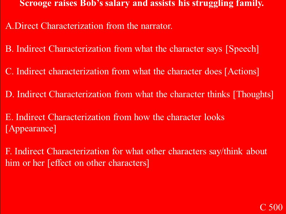 B. Indirect Characterization from what the character says [Speech] C 400