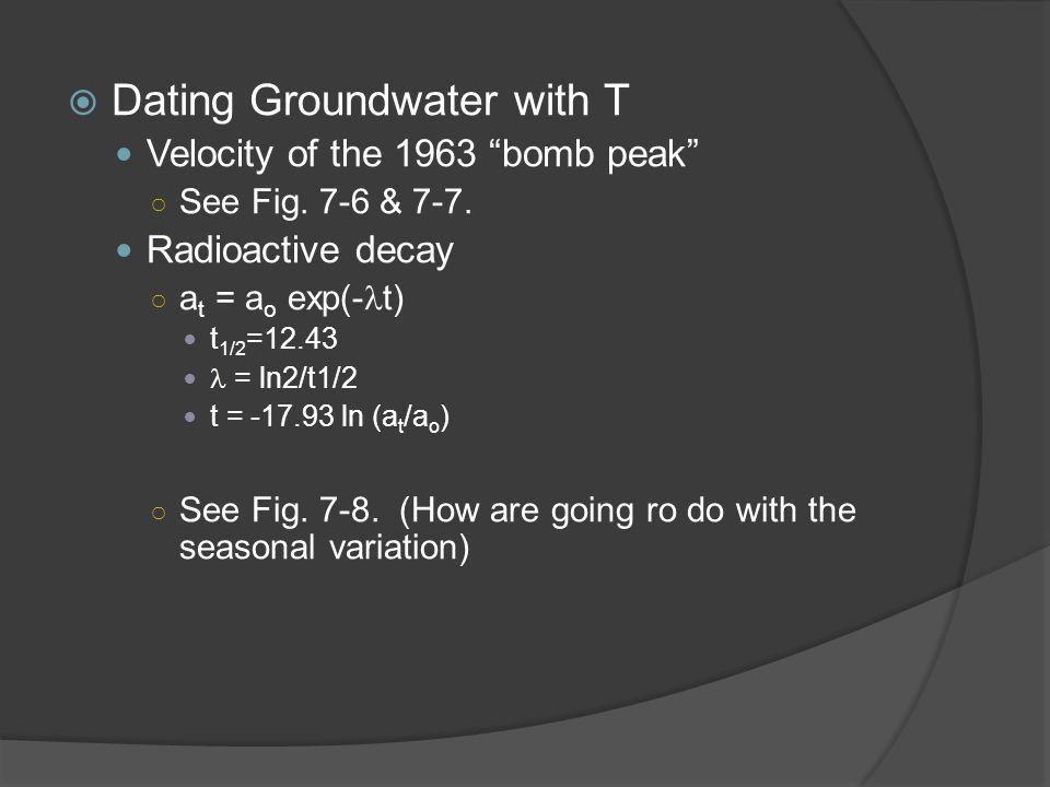  Dating Groundwater with T Velocity of the 1963 bomb peak ○ See Fig.