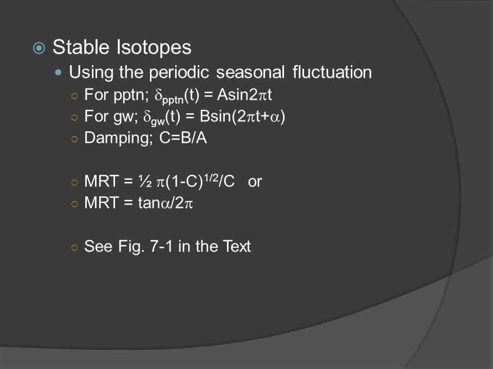  Stable Isotopes Using the periodic seasonal fluctuation ○ For pptn;  pptn (t) = Asin2  t ○ For gw;  gw (t) = Bsin(2  t+  ) ○ Damping; C=B/A ○ MRT = ½  (1-C) 1/2 /C or ○ MRT = tan  /2  ○ See Fig.