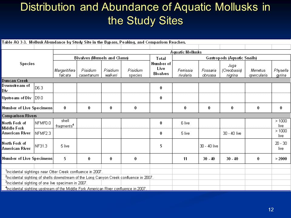 12 Distribution and Abundance of Aquatic Mollusks in the Study Sites