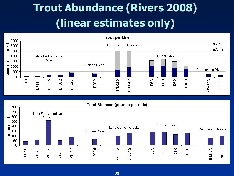 20 Trout Abundance (Rivers 2008) (linear estimates only)