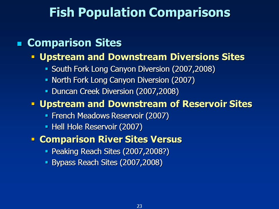 23 Comparison Sites Comparison Sites  Upstream and Downstream Diversions Sites  South Fork Long Canyon Diversion (2007,2008)  North Fork Long Canyon Diversion (2007)  Duncan Creek Diversion (2007,2008)  Upstream and Downstream of Reservoir Sites  French Meadows Reservoir (2007)  Hell Hole Reservoir (2007)  Comparison River Sites Versus  Peaking Reach Sites (2007,2008 )  Bypass Reach Sites (2007,2008) Fish Population Comparisons