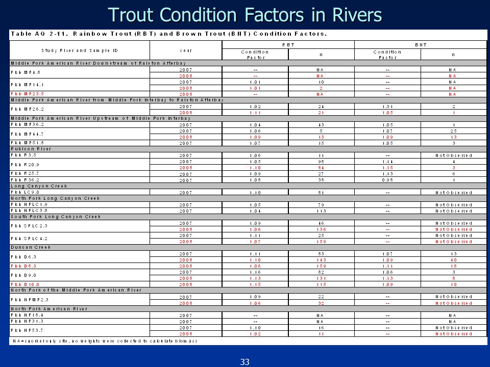33 Trout Condition Factors in Rivers