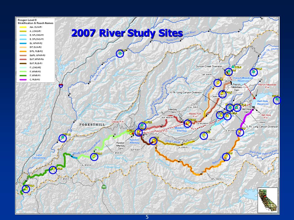 5 Fish Population Study Sites 2007 River Study Sites