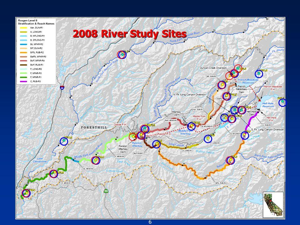 7 Fish Population Study Sites 2008 River Study Sites Hardhead Qualitative