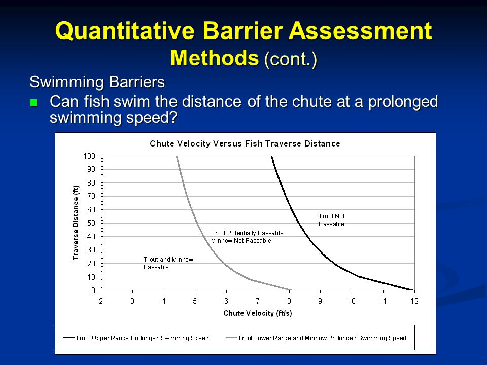 Quantitative Barrier Assessment Methods (cont.) Swimming Barriers Can fish swim the distance of the chute at a prolonged swimming speed.