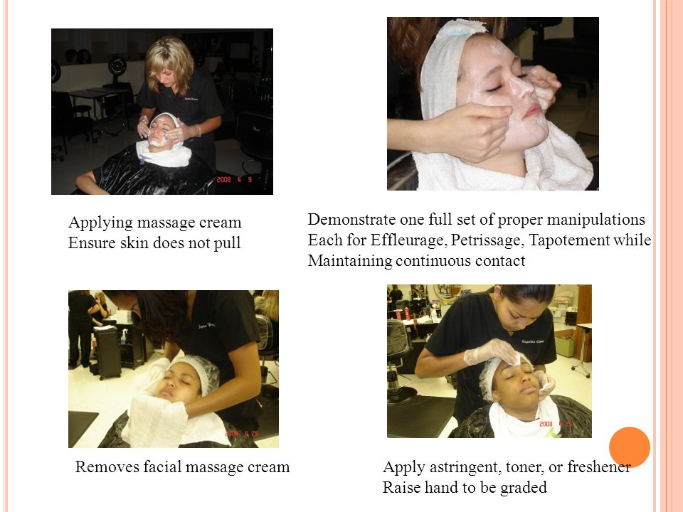 Applying massage cream Ensure skin does not pull Demonstrate one full set of proper manipulations Each for Effleurage, Petrissage, Tapotement while Ma