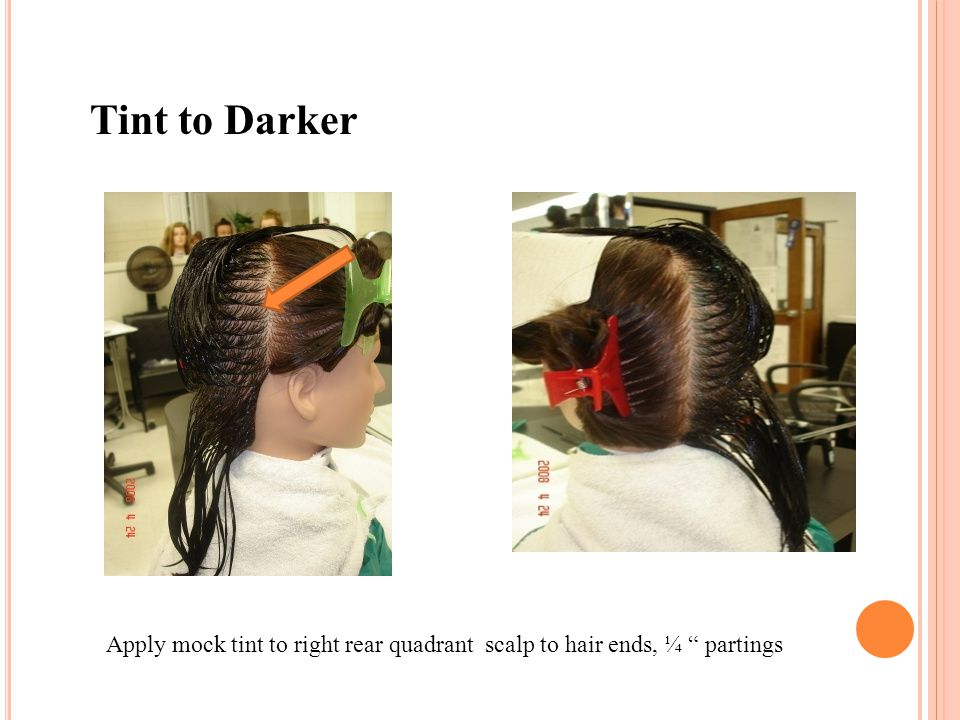 """Apply mock tint to right rear quadrant scalp to hair ends, ¼ """" partings Tint to Darker"""