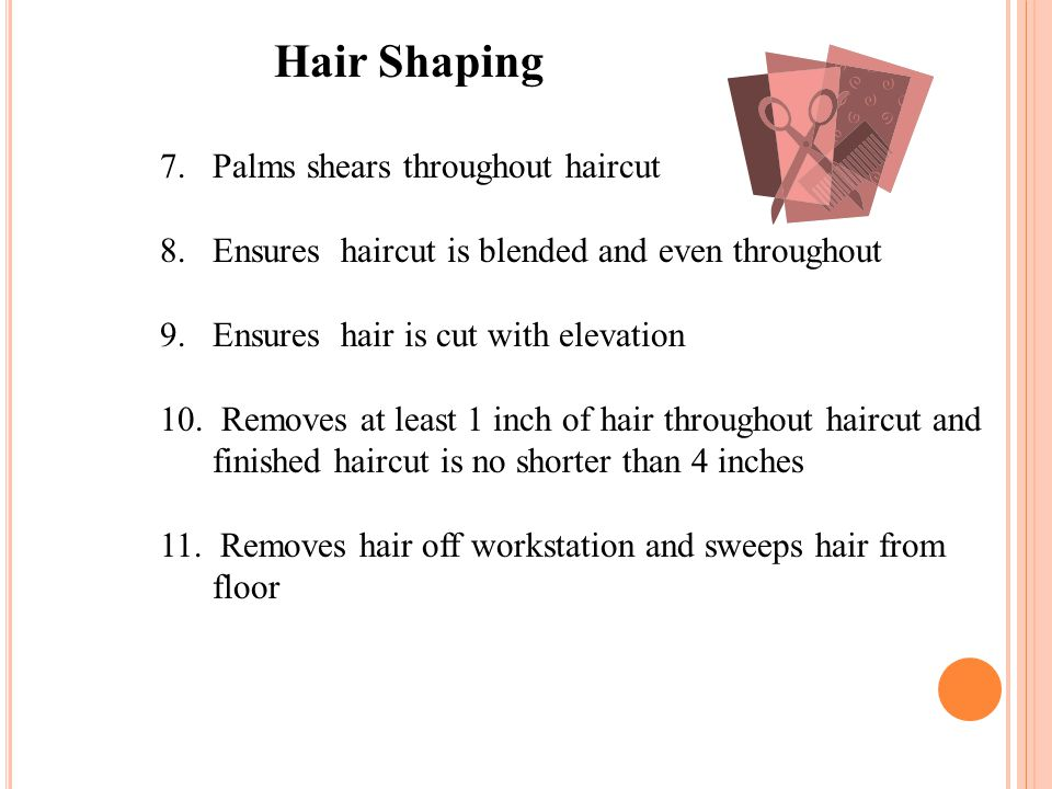 7.Palms shears throughout haircut 8.Ensures haircut is blended and even throughout 9. Ensures hair is cut with elevation 10. Removes at least 1 inch o