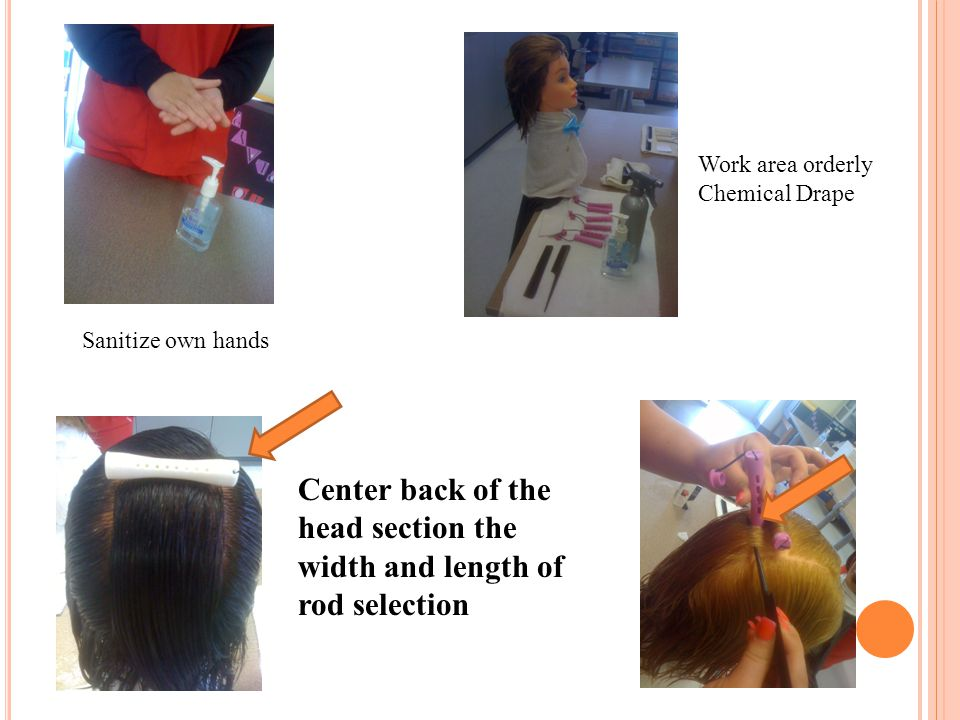 Sanitize own hands Work area orderly Chemical Drape Center back of the head section the width and length of rod selection