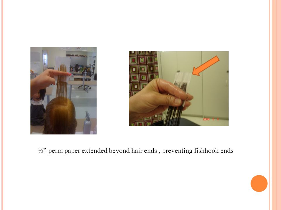 """½"""" perm paper extended beyond hair ends, preventing fishhook ends"""