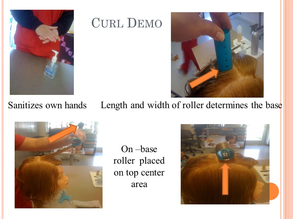 C URL D EMO Sanitizes own hands On –base roller placed on top center area Length and width of roller determines the base