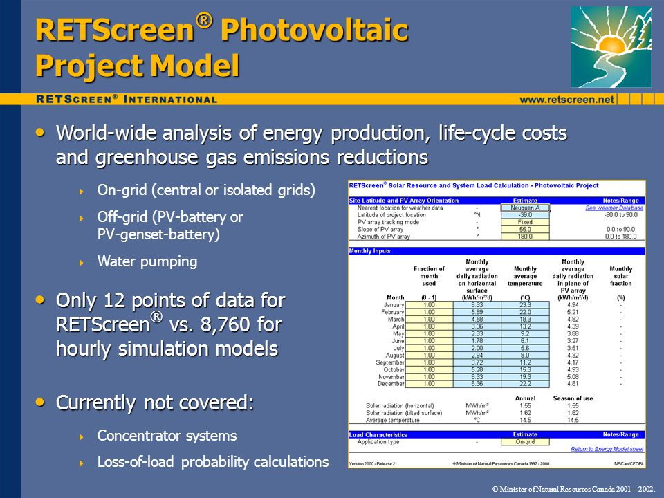 RETScreen ® Photovoltaic Project Model World-wide analysis of energy production, life-cycle costs and greenhouse gas emissions reductions World-wide a