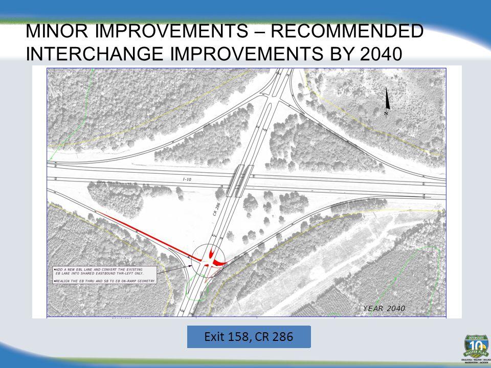 MINOR IMPROVEMENTS – RECOMMENDED INTERCHANGE IMPROVEMENTS BY 2040 Exit 45, CR 189 Exit 56, SR 85Exit 70, SR 285 Exit 85, US 331 Exit 96, SR 81 Exit 15