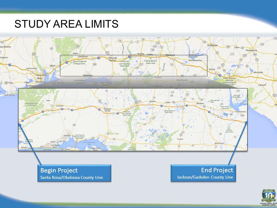 STUDY AREA LIMITS Begin Project Santa Rosa/Okaloosa County Line Begin Project Santa Rosa/Okaloosa County Line End Project Jackson/Gadsden County Line