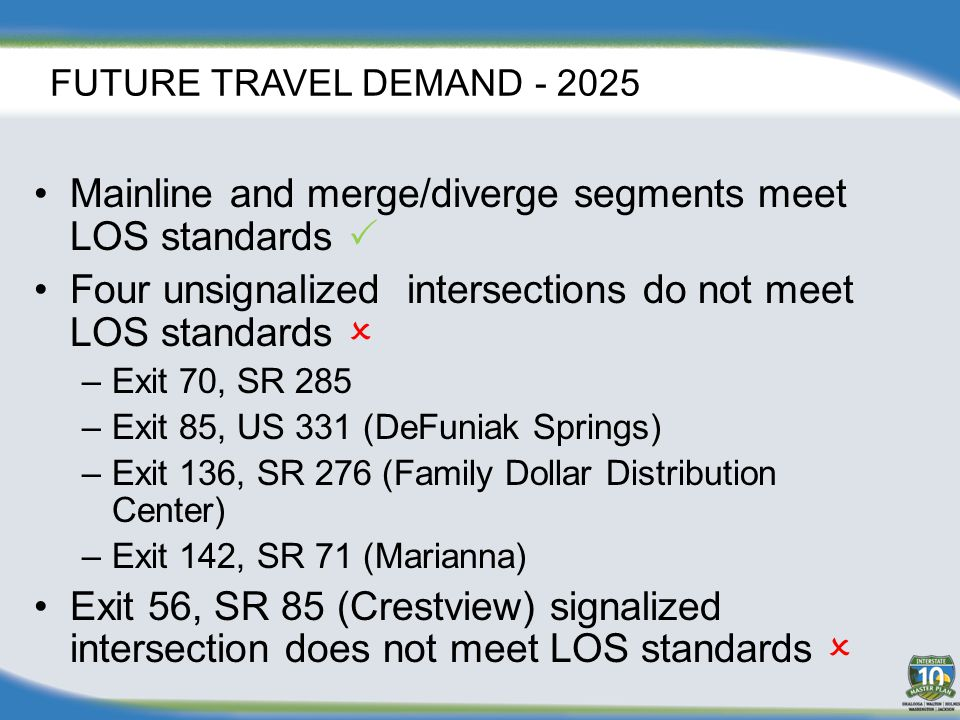 FUTURE TRAVEL DEMAND - 2025 Mainline and merge/diverge segments meet LOS standards  Four unsignalized intersections do not meet LOS standards  –Exit 70, SR 285 –Exit 85, US 331 (DeFuniak Springs) –Exit 136, SR 276 (Family Dollar Distribution Center) –Exit 142, SR 71 (Marianna) Exit 56, SR 85 (Crestview) signalized intersection does not meet LOS standards 