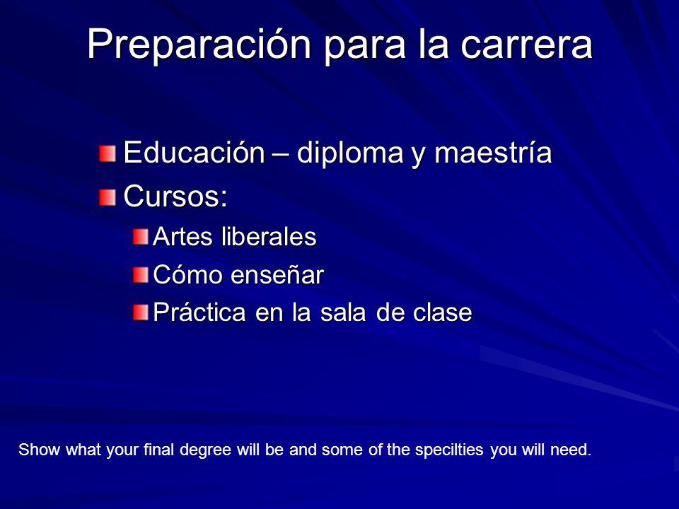 Preparación para la carrera Educación – diploma y maestría Cursos: Artes liberales Cómo enseñar Práctica en la sala de clase Show what your final degree will be and some of the specilties you will need.