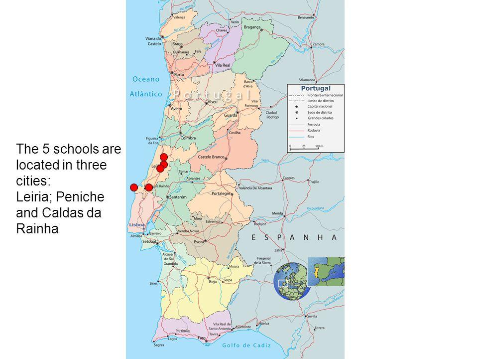 The 5 schools are located in three cities: Leiria; Peniche and Caldas da Rainha